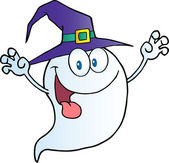 Ghost Holding His Hands Up And Wearing A Witch Hat — Stock Photo