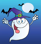 Ghost Wearing A Witch Hat Over Bats On Blue — Stock Photo