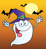 Spooky Ghost Wearing A Witch Hat — Stock Photo