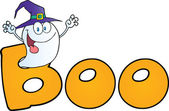Ghost Wearing A Witch Hat In The Word BOO — Stock Photo