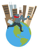 Businessman Running On An Urban Globe With A Briefcase And Tablet — Stock Photo