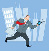 Businessman Running In The City With Suitcases And Tablet — Stock Photo