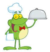Waiter Frog Holding A Platter — Stock Photo