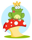 Frog Prince Sitting On A Mushroom Over Blue — Stock Photo
