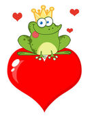 Frog Prince Sitting On A Heart — Stock Photo