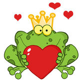 Frog Prince Holding A Heart — Stock Photo