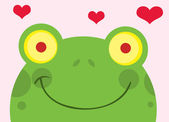 Happy Frog With Hearts — Stock Photo