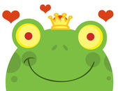 Smiling Frog Prince Face With Hearts — Stock Photo