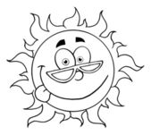 Outline Of A Goofy Sun Wearing Shades And Sticking His Tongue Out — Stock Photo