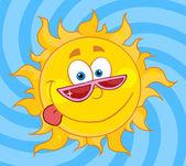 Happy Sun Mascot Cartoon Character With Shades — Stock Photo