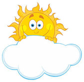 Happy Sun Hiding Behind Cloud — Stock Photo