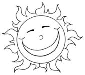 Outlined Sun Smiling — Stock Photo
