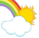 Sun With A Cloud And Rainbow — Stock Photo
