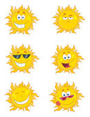 Collage Of Happy Sun Faces — Stock Photo