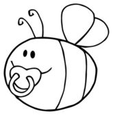Flying Baby Bee Cartoon Character — Stock Photo
