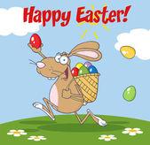 茶色ウサギに幸せなイースターのグリーティング — ストック写真