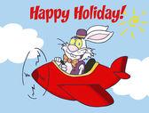 Mutlu tatiller kırmızı uçak uçan bir Paskalya Tavşanı Tebrik — Stok fotoğraf