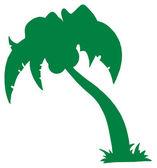 Silueta de árbol de palma verde — Foto de Stock