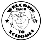 Black And White Welcome Back To School Circle And Student Apple — Stock Photo