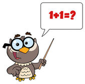 Professor Owl Holding A Pointer Stick And Teaching Math — Stock Photo