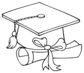 Outlined Graduate Cap With Diploma — Stock Photo