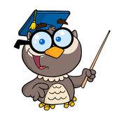 Professor coruja segurando uma vara de ponteiro — Fotografia Stock