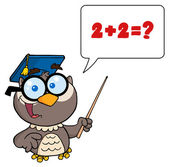 Professor Owl Holding A Pointer Stick And Teaching Addition — Stock Photo