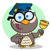 Professor Owl Ringing A Bell — Stock Photo