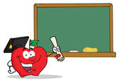 Professor Apple And Diploma By Chalkboard — Stock Photo