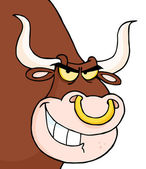 Angry Longhorn Head Looking — Stock Photo
