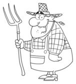 Outlined Farmer Man — Stock Photo