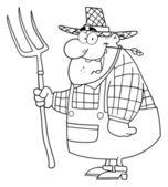 Uomo agricoltore delineato — Foto Stock