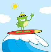 Surfer Frog Riding A Wave — Stock Photo