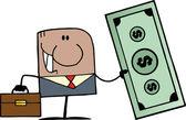 Black Businessman Holding Cash — Stock Photo