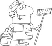 Outlined Friendly Maid — Stock Photo