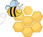 Happy Bee Over Honey Combs — Stock Photo