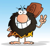 Caveman Gesturing The Peace Sign With His Hand — Stock Photo