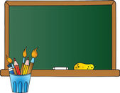 School Chalkboard And Pencil Cup — Stock Photo