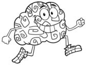 Outlined Brain Character Jogging — Stock Photo