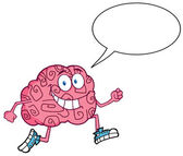 Brain Character Talking Jogging — Stock Photo