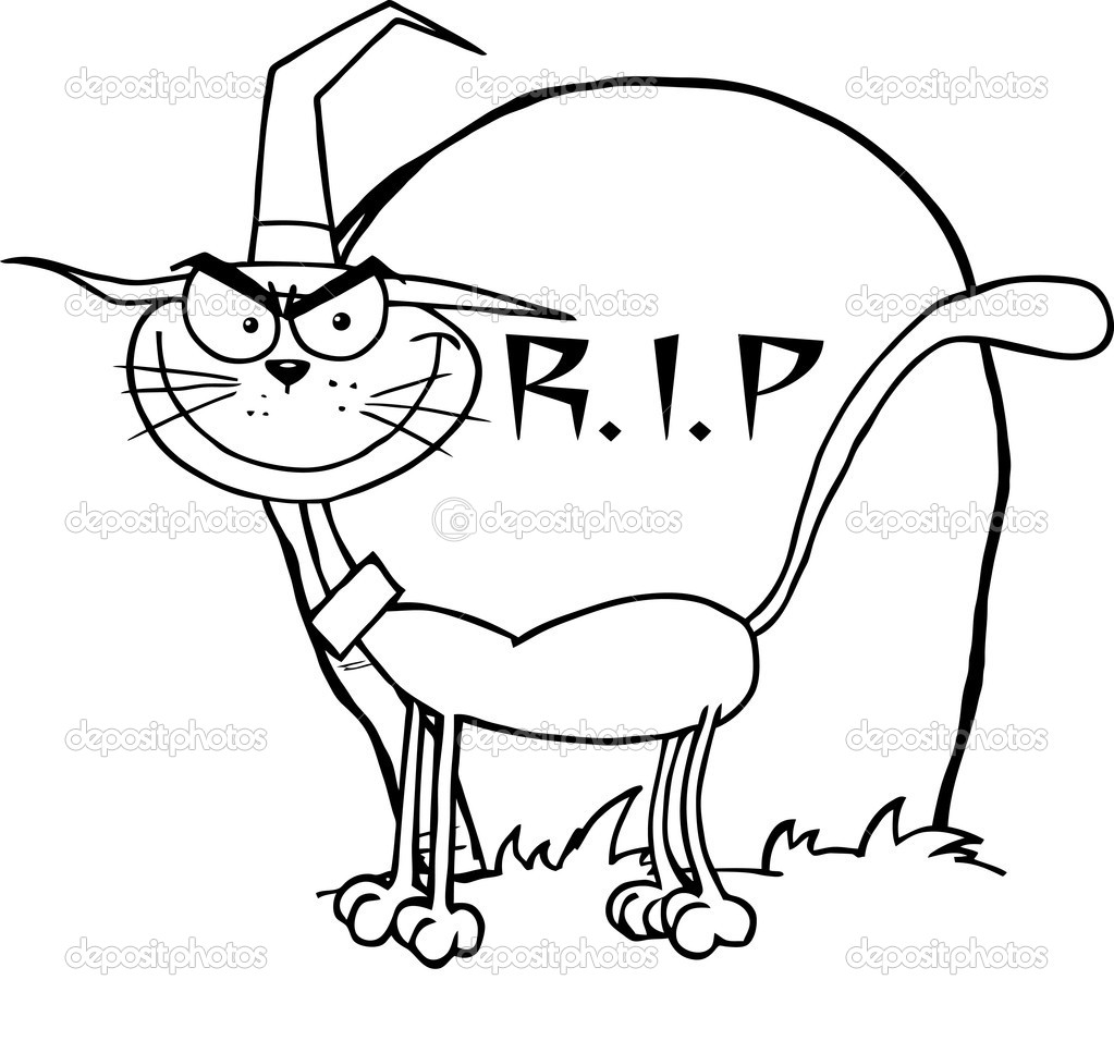 outlined witch cat by a tombstone  u2014 stock photo  u00a9 hittoon  7275684