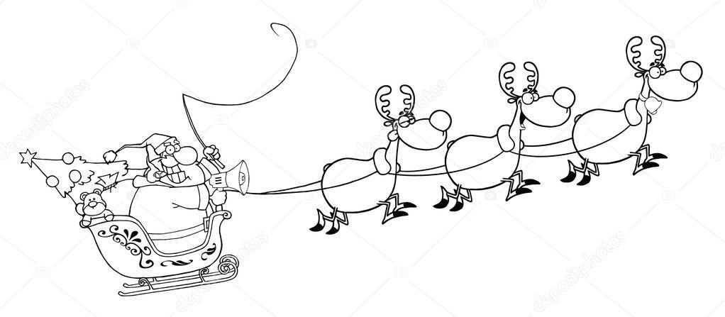 Reindeer Sleigh Outline An Outline Of Santa In...