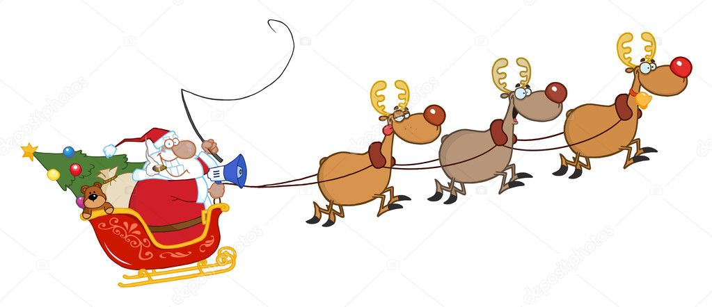 African American Santa Claus And Team Of Reindeer In His Sleigh Flying — Stock Photo #7276190