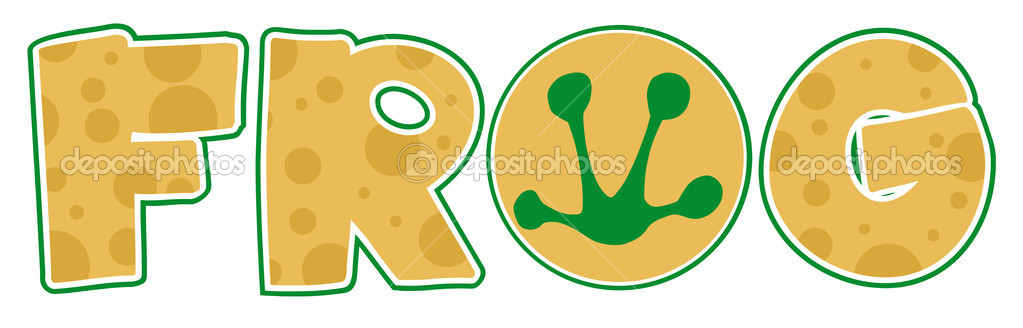 Frog Print In The O Of The Word FROG  Stock Photo #7276353