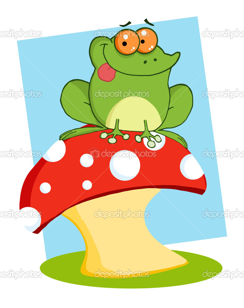 Tree Frog On A Toadstool Or Mushroom — Stock Photo #7276429