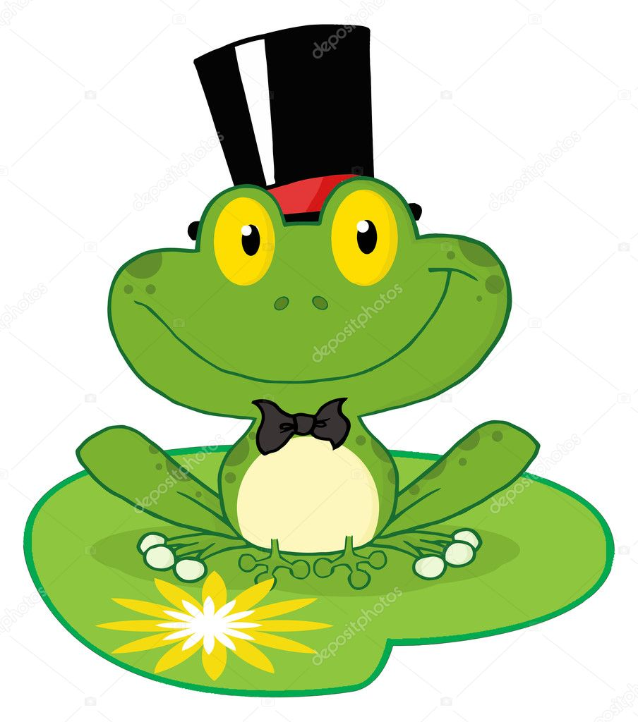 Cartoon Frog On Lily Pad Frog groom on a lilypad
