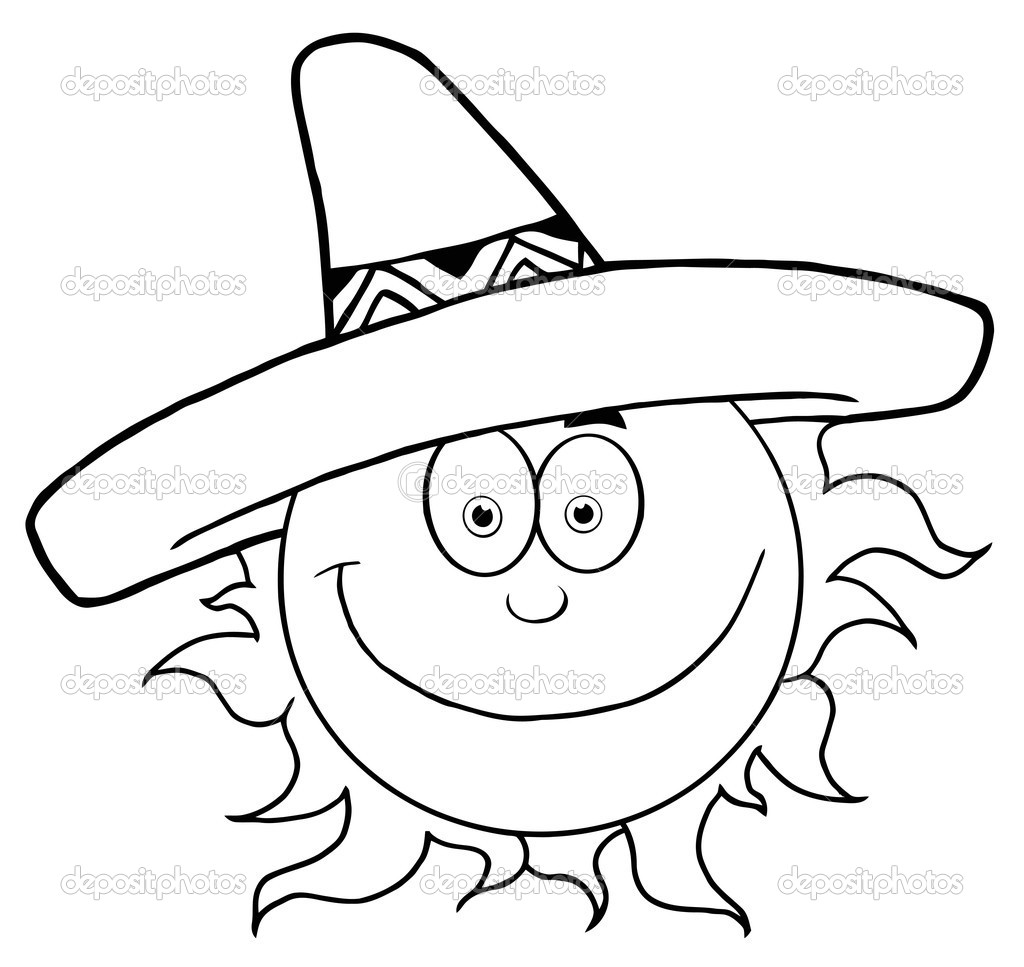 Cartoon Characters Outline : Outline of a happy sun wearing sombrero stock photo