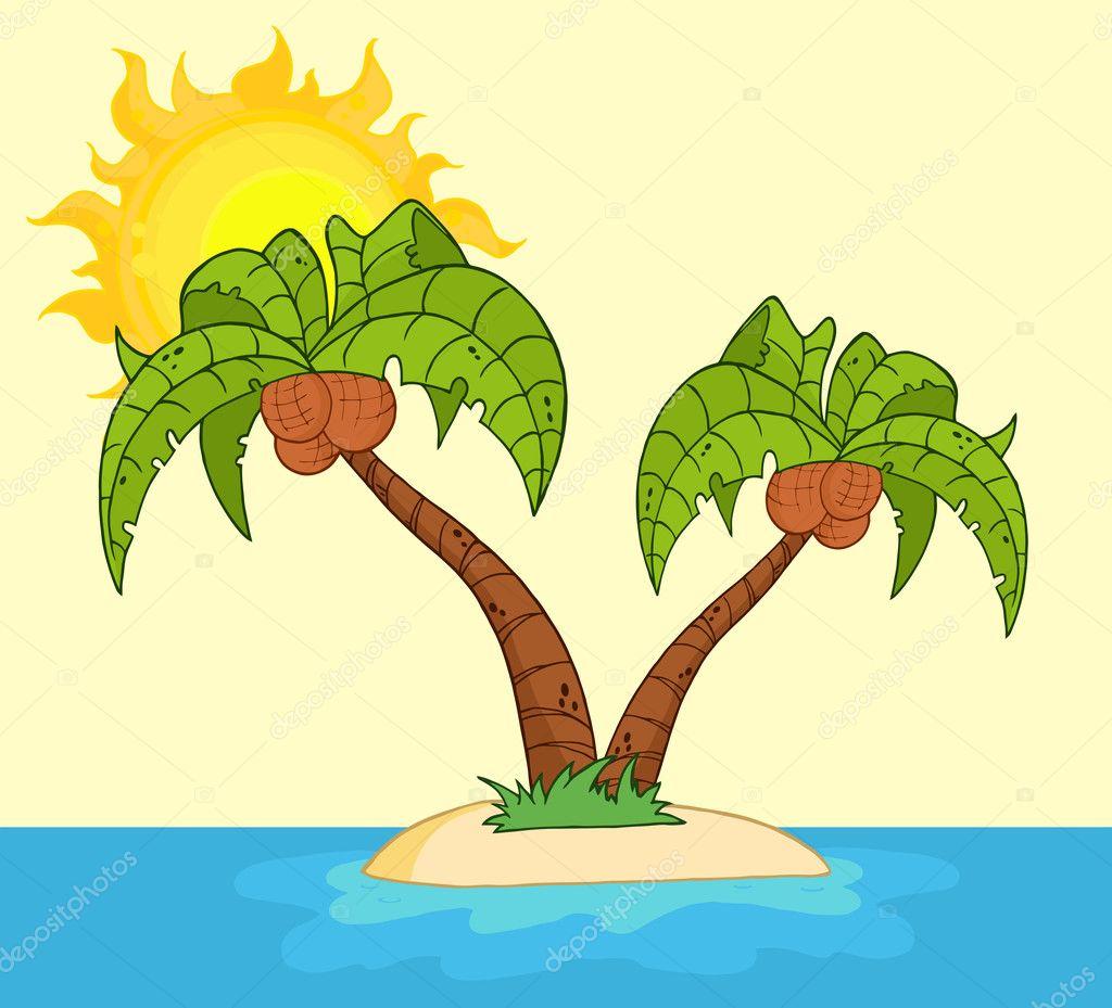 在海洋中的一个岛上的棕榈树 pandochka  在日落的热带海滩 logoboom