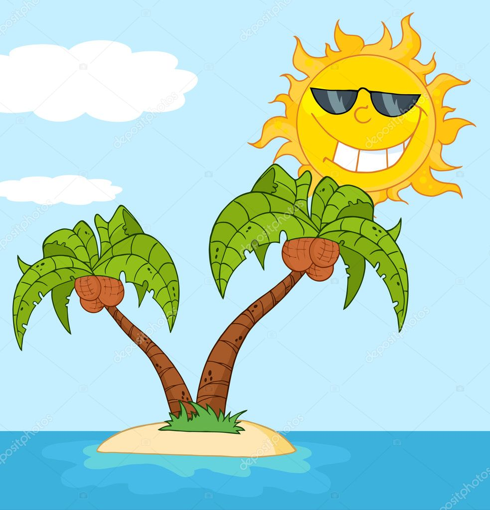 summer trees sun beach sea palm trees palm - DopePicz