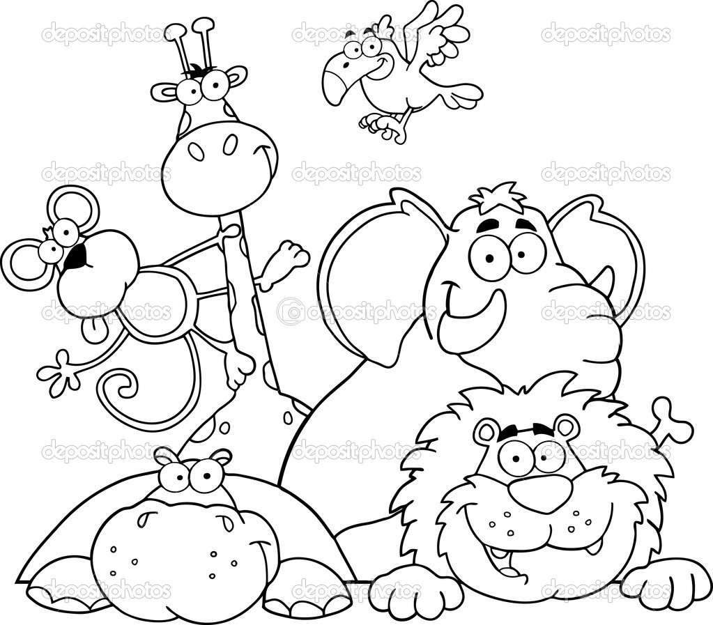 Outlined Jungle Animals u2014 Stock Photo u00a9 HitToon #7277478